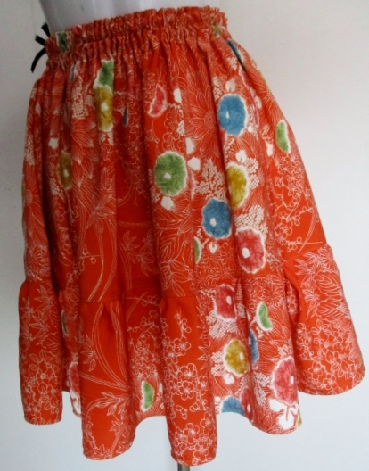 送料無料 花柄の着物で作ったミニスカート 3391