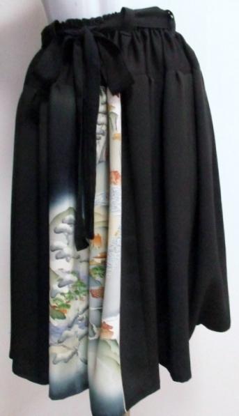 送料無料 色留袖で作った膝丈スカート 3407