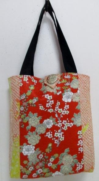 送料無料 花柄の訪問着と絞りの羽織で作った手提げ袋 3418