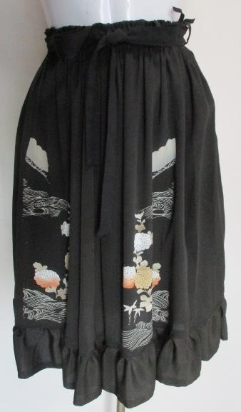 送料無料  色留袖で作った膝丈スカート 3446