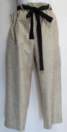 送料無料 色大島紬の着物で作ったサブリナパンツ 3450