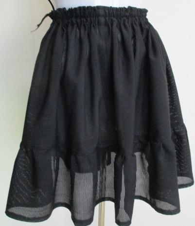 送料無料 黒の絽の着物で作ったミニスカート 3464