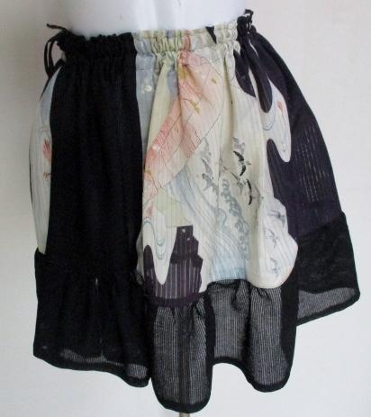 送料無料 絽の帯と着物で作ったミニスカート 3468