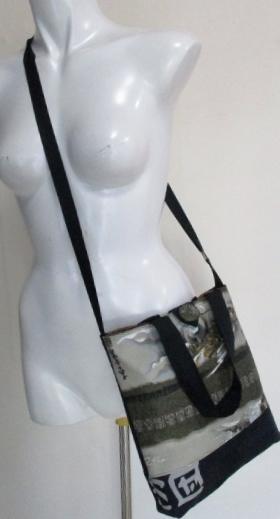 送料無料 酒袋と長襦袢で作ったショルダー兼手提げ袋 3482