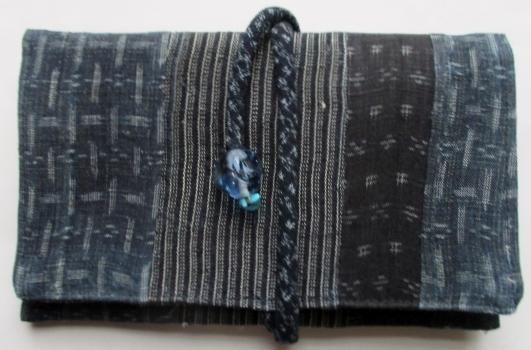 送料無料 麻の上布と夏大島紬で作った和風財布・ポーチ 3517