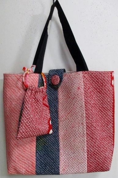 送料無料 絞りの羽織で作った手提げ袋 3527