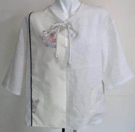 着物リメイク 白絣と紬で作ったプルオーバー 3531