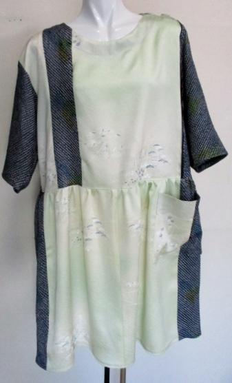 送料無料 絞りと花柄の着物で作ったチュニック 3549