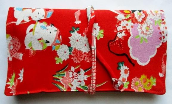 送料無料 女の子の着物で作った和風財布・ポーチ 3558