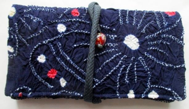 送料無料 絞りの浴衣で作った和風財布・ポーチ 3577