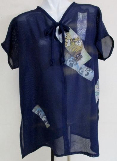 送料無料 絽の着物で作ったロングベスト 3608