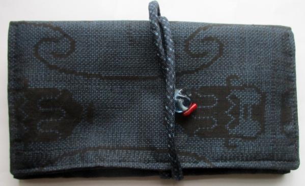 送料無料 藍大島紬で作った和風財布・ポーチ 3616