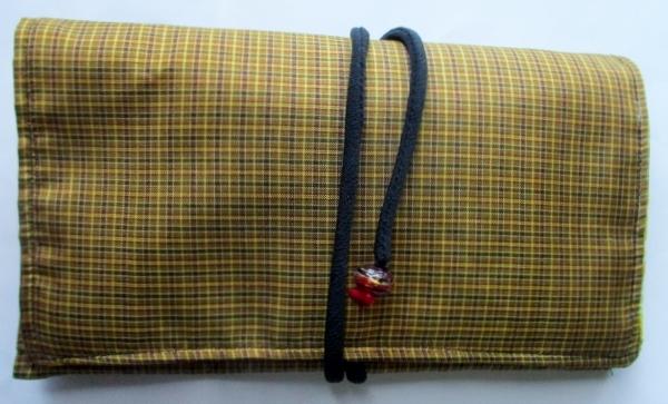 送料無料 黄八丈で作った和風財布・ポーチ 3652
