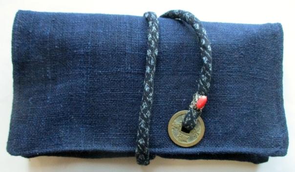 送料無料  藍染で作った和風財布・ポーチ 3654