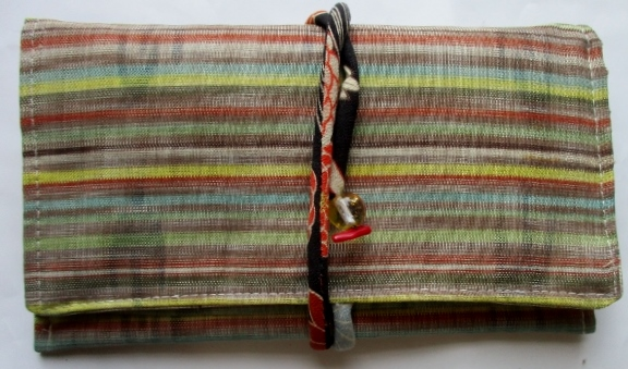 送料無料  琉球紬で作った和風財布・ポーチ 3674