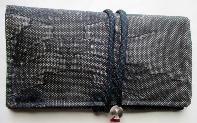 送料無料 大島紬で作った和風財布・ポーチ 3686