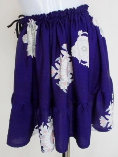 送料無料 花柄の着物で作ったミニスカート3732