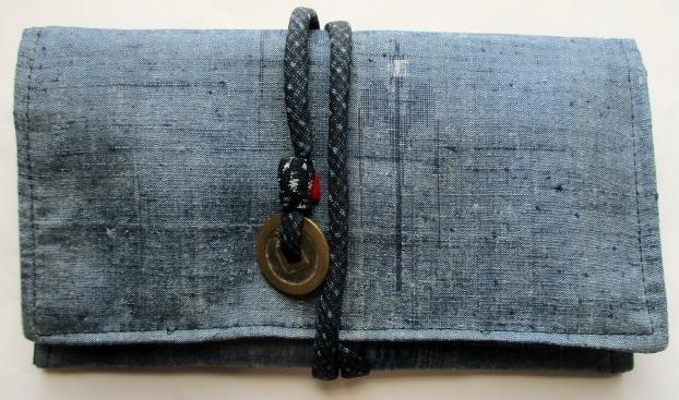 送料無料 琉球紬で作った和風財布・ポーチ 3736
