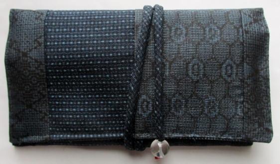 送料無料 藍大島紬で作った和風財布・ポーチ 3746