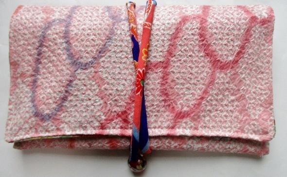 送料無料 絞りの着物で作った和風財布・ポーチ 作った3748