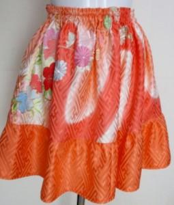 送料無料 花柄の着物で作ったミニスカート 3764