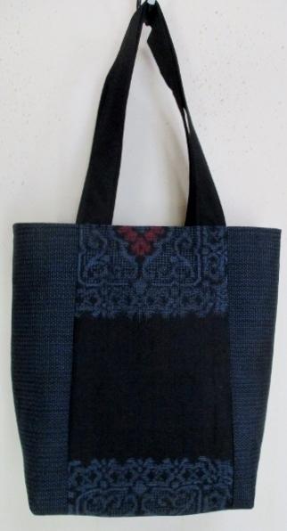 送料無料 大島紬で作った手提げ袋 3777