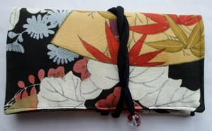 藍大島紬で作った和風財布・ポーチ 3794