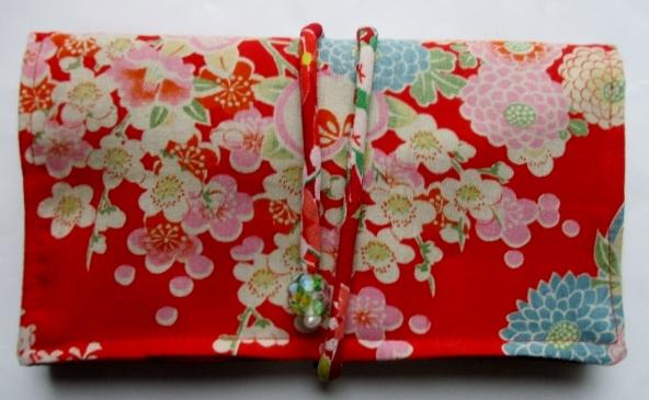 花柄の長襦袢で作った和風財布・ポーチ 3795
