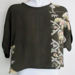 花柄の着物と藍大島で作ったベスト 3796