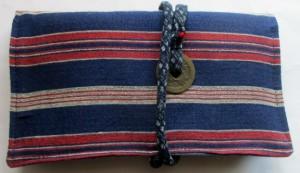 送料無料 唐桟縞と藍で作った和風財布・ポーチ 3810