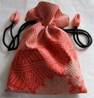 送料無料 絞りで作った巾着袋 3819