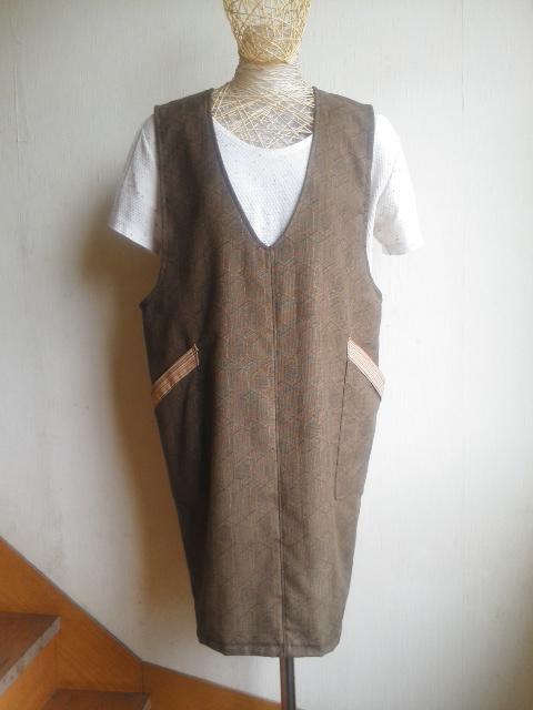 Vネックジャンパースカート★着物リメイク