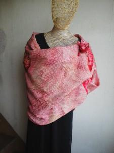 鶴柄と大島紬で作った手提げ袋 3804