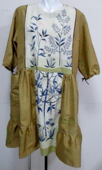 送料無料 花柄の着物で作ったチュニック 3894